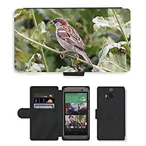 Hot Style Cell Phone Card Slot PU Leather Wallet Case // M00110281 Sperling Sparrow Passeridae Birds // HTC One M8