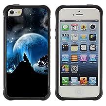 God Garden@ Wolf Moon Mountain Trees Night Sky Forest Rugged Hybrid Armor Slim Protection Case Cover Shell For iphone 5S CASE Cover ,iphone 5 5S case,iphone5S plus cover ,Cases for iphone 5 5S