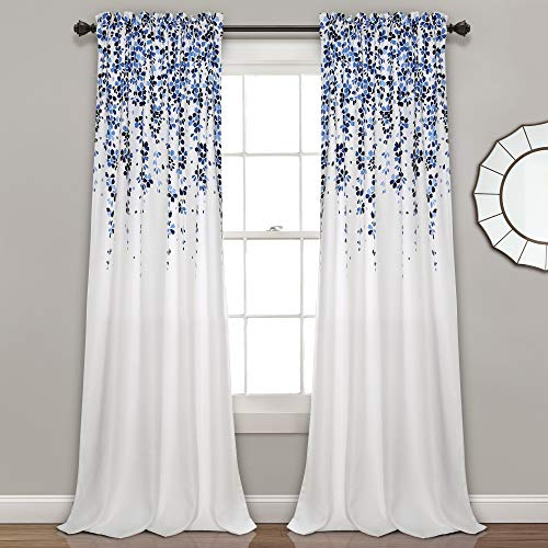 Lush Decor Weeping Flowers Curtains Navy and Blue Room Darkening Window Panel Set (Pair), 84