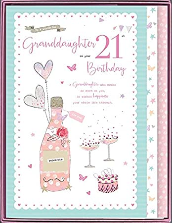To A Special Granddaughter On Your 21st Birthday Boxed Beautiful Large Card Amazoncouk Office Products