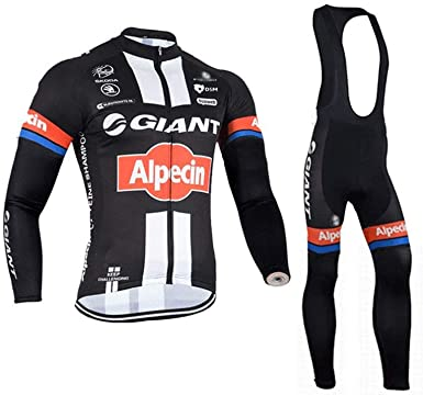 Men/'s Winter Cycling Kit Long Sleeve Cycle Jersey /& Padded Bike Long Pants Set