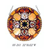 HF-241 22 Inch Pastoral Vintage Tiffany Style Handmade Stained Glass Decorative Window Hanging Glass Panel Suncatcher