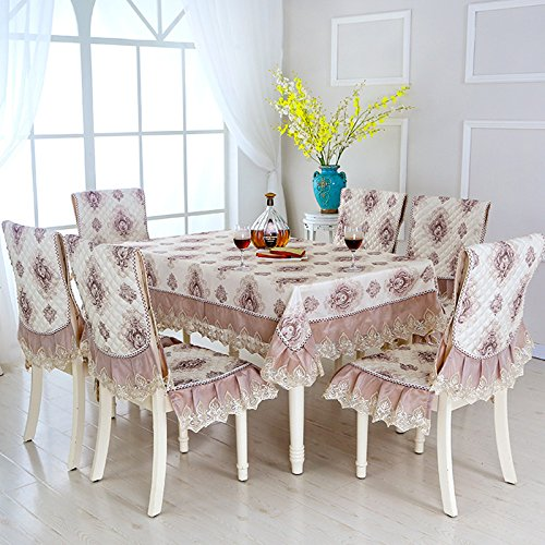 9pcs/set Pastoral Style Rectangle Table Cloth with Chair Covers Lace Edge Tablecloth for Wedding Dining Table Cover Tablecloths   B07R7NG3S2