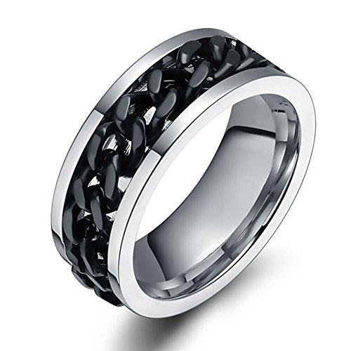 Chryssa Youree Men's Titanium Steel Cuban Link Chain in Middle Jewelry Wedding Band Silver Ring 7 to 12(SZZ-10) (Size 11, Black)