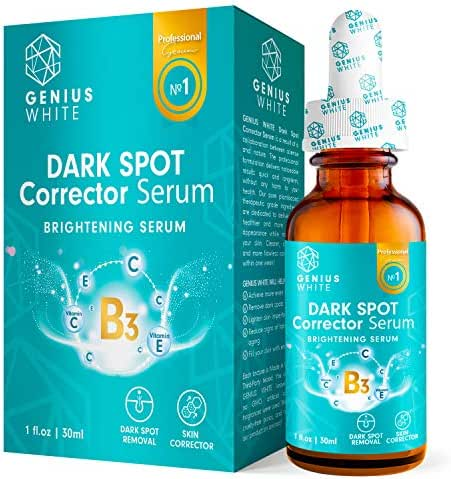 GENIUS Lightening Serum with Kojic Acid, Dark Spot Corrector Remover for Face and Body, Lightening Serum with Kojic Acid, Natural Gentle Skin Brightening & Bleaching Serum, Private Areas 1fl oz