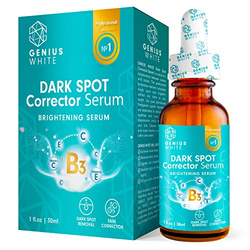 GENIUS Lightening Serum with Kojic Acid, Dark Spot Corrector Remover for Face and Body, Lightening Serum with Kojic Acid, Natural Gentle Skin Brightening  Bleaching Serum, Private Areas 1fl oz