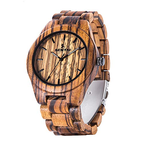 Men's Wooden Watch, Sentai Handmade Vintage Quartz Watches, Natural Wooden Wrist Watch Chevy Metal Band Watch