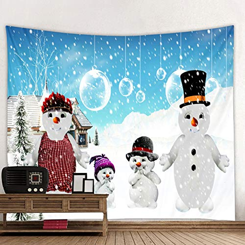 Muuyi Christmas Tapestry, Christmas Snowman Holiday Digital Printed Tapestry Wall Hanging Christmas Decorations for Office Living Room Bedroom Dorm Decor Machine Washable - 80x60 Inches