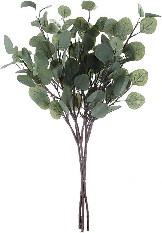 Artificial Greenery Stems 6 Pcs Straight Silver Dollar Eucalyptus Leaf Silk