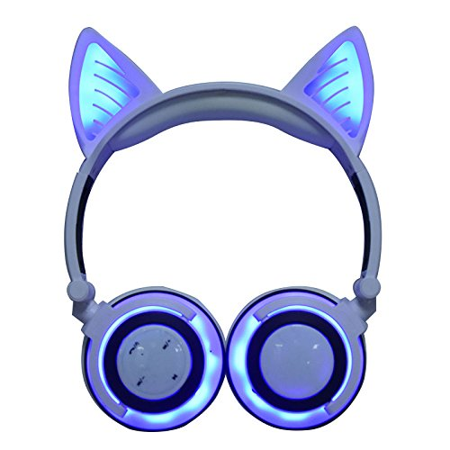 Wireless Over Ear Bluetooth Headsets LED Light Cute Cat Ear Headphones for Girls, Up Foldable Over Ear Use for Phones, PC, MP3, MP4. (White Ear) -