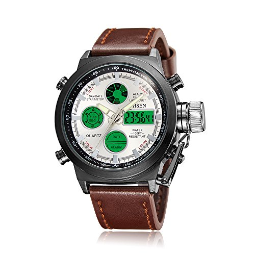 OHSEN Men's Analog Digital Watches Sport Dual Time Alarm Chronograph Genuine Leather Band Watch White (Chronograph Alarm Analog)