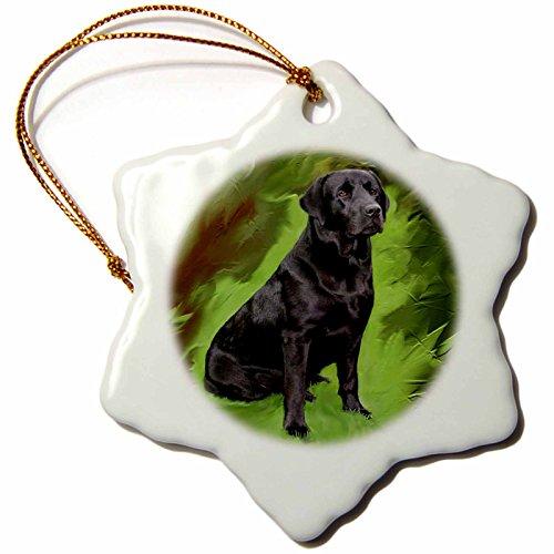 - 3dRose Black Labrador Retriever Snowflake Porcelain Ornament, 3-Inch