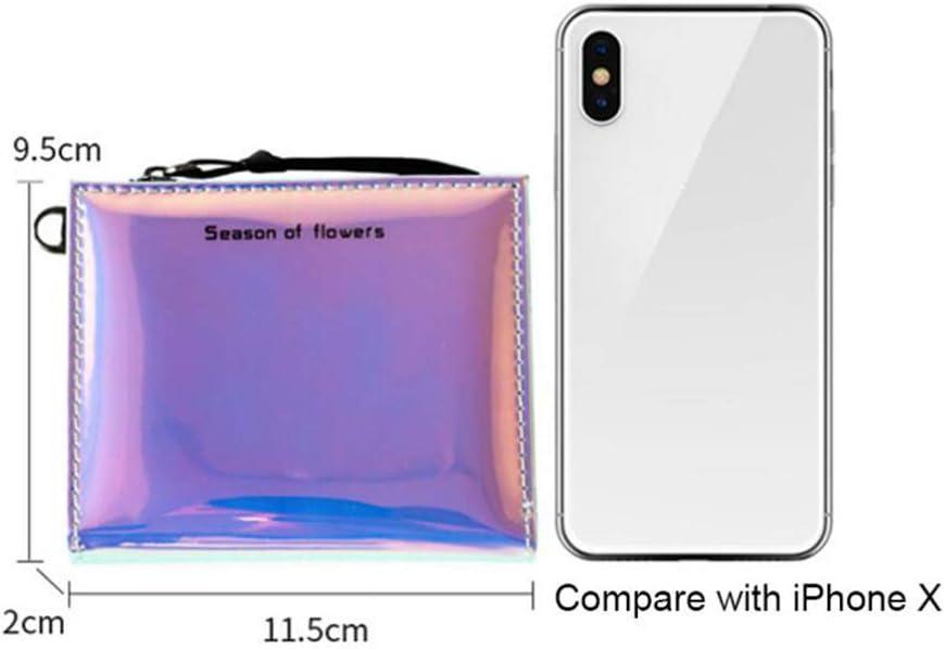 Beito Portafoglio donna 1 PZ Glitter Holographic Zipper Portafoglio impermeabile Mini Titolare della carta Portamonete portatile con tracolla staccabile per le donne Ragazze blu