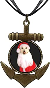 Chicforest Bronze Retro Style Santa Dog Anchor Pendant