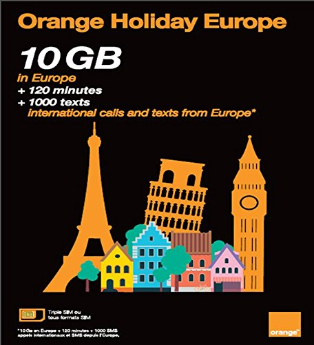 orange holiday europe prepaid sim card 10gb internet data in 4glte data tethering allowed 120 mn 1000 texts in 30 countries in europe - Prepaid Sim Card Europe Data