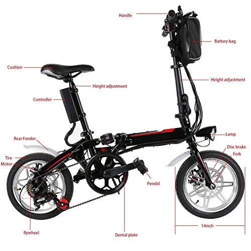 mymotto Mini 14 Pulgadas Plegable 500 W Bicicleta Eléctrica con 36 V 8000 m AH Batería Lithium-Ion, MAX Carga 200 kg: Amazon.es: Deportes y aire libre