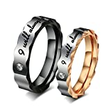 "Aooaz Boys Mens Stainless Steel Ring, ""I will always be with you"" Wedding Bands CZ Crystal Black Size 10"
