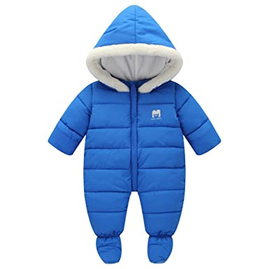 51e291038 Amazon.com  SanReach Baby Winter Fur Trim Hooded Down Snowsuit ...