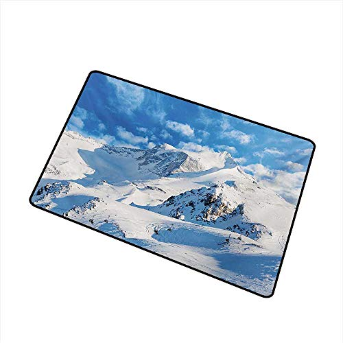 (BeckyWCarr Mountain Universal Door mat Mountain Landscape Ski Slope Winter Seasonal Sport Telfer and Snowboarding Image Door mat Floor Decoration W19.7 x L31.5 Inch,White Blue)