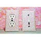 SET OF CHUNKY WHITE SNOW FROZEN Glitter Switch Plate & Outlet Cover, SET 0F 2! ALL Styles Available!