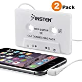 Insten [2-Pack] Car Cassette Tape Deck Adapter Compatible with 3.5mm Jack Audio MP3/CD Player for iPhone 6S / 6S Plus / 5S, Samsung Galaxy S8 / S8+ S8 Plus, LG G6