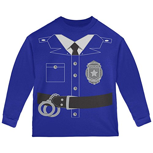 Old Glory Halloween Police Policeman Cop Costume Toddler Long Sleeve T Shirt Royal (Old Man Baby Halloween Costume)