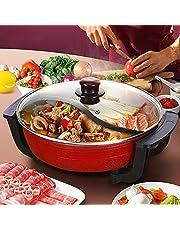 Elektrische Hot Pot pan, Shabu Shabu Pot, 1300 W, 6 l / 38 cm Ø elektrische grill fornuis voor 3-10 personen, elektrische hot-pot schuren, multifunctionele elektrische anti-aanbak-ketel (rood)