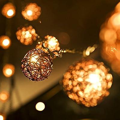 Dealbeta Battery Handmade Rattan Ball String Lights 20 Warm White LED Christmas Indoor String Fairy Lights for Bedroom, Wedding, Party [ Rattan Ball's Diameter:5cm/2.04 in ]