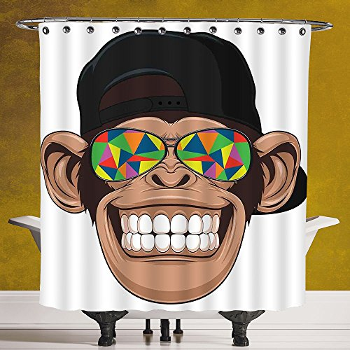 Polyester Shower Curtain 3.0 by SCOCICI [ Cartoon Decor,Fun Hipster Monkey with Colorful Sunglasses and Hat Rapper Hippie Ape Art Graphic,Brown Black White ] Digital Print Polyester Fabric Bathroom - With Rhinestones Sunglasses Versace