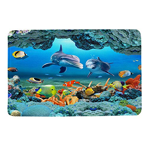 Kids Soft Chenille Braided Rug - HIYOO Ocean Seabed Coral Fish Dolphins Theme Design Non Slip Bathmat, Doormat, Bathroom Bath Floor Kitchen Area Door Entrance Rugs Mat, Super Soft Flannel Fabric with Inner Thick Sponge 16