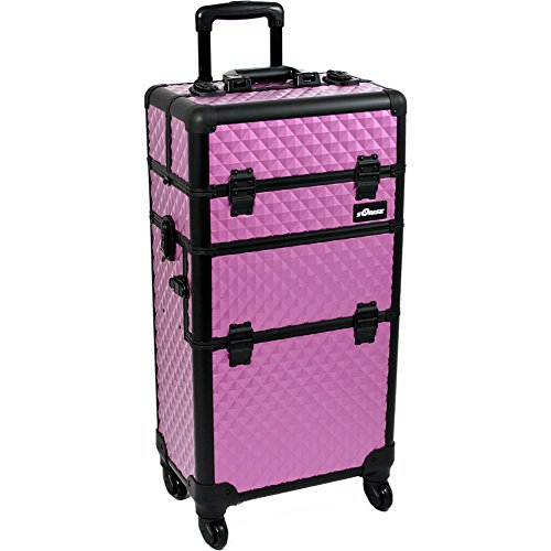 SUNRISE Makeup Case on Wheels 2 in 1 I3561 Hair Stylist Professional, 3 Trays and 1 Removable Tray, Locking with 2 Mirrors, Brush Holder and Shoulder Strap, Purple Diamond by SunRise