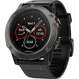 Garmin Fenix 5X Sapphire – Slate Gray with Black Band (Renewed)