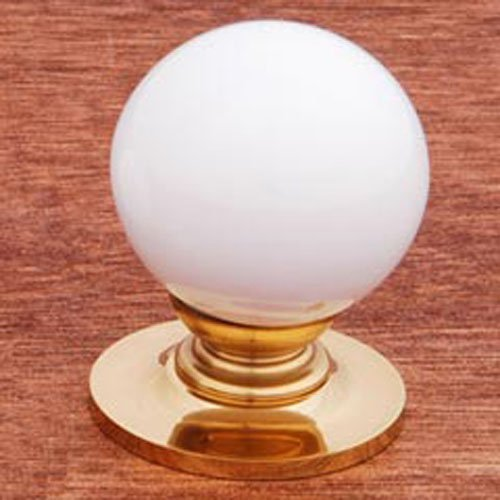 (RK International RKI 304-White R.K. International CK 304 White Porcelain Knob, Polished Brass)
