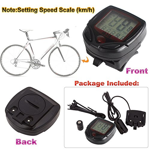 LCD Display Bike Bicycle Cycle Computer Odometer Speedometer Speed Meter NR 16 Function 02 Sporting Goods