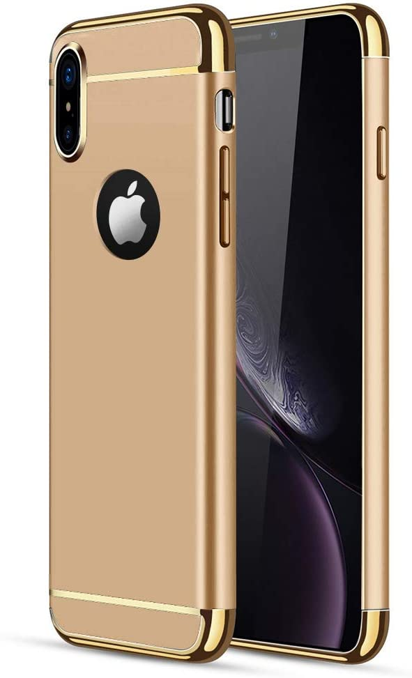 iPhone X/XS Case, CROSYMX 3 in 1 Ultra Thin and Slim Hard Case Coated Non Slip Matte Surface with Electroplate Frame for Apple iPhone X/XS(5.8'') - Gold
