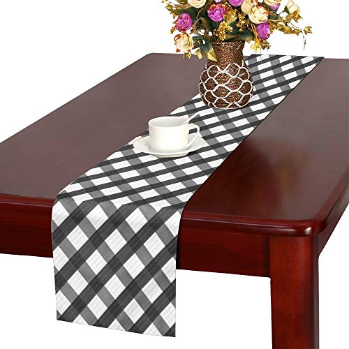 WUTMVING Dark Gray Gingham Repeat Table Runner, Kitchen Dining Table Runner 16 X 72 Inch for Dinner Parties, Events, Decor