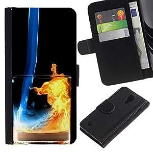 NEECELL GIFT forCITY // Billetera de cuero Caso Cubierta de protección Carcasa / Leather Wallet Case for Samsung Galaxy S4 IV I9500 // Fuego y Agua Cóctel
