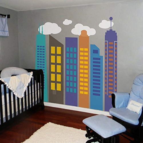 Modern City Wall Decal Bold Colorful City Skyline Wall Sticker Vinyl Geometric City Wall Graphic Home Art Decor B(1 outline & 2 windows:Teal;2 outline:Slate Gray;3,6outline & 1,5 windows:Blue;4 outline & 6 windows:Dark Yellow;5 outline:Medium Blue;2,4 windows:Light Yellow;clouds:White)