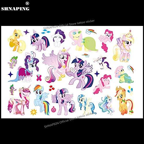 (17x10CM Cute Pony Children Cartoon Temporary Tattoos Sticker Fashion Summer Style Elsa Waterproof Girls Kids Boys)