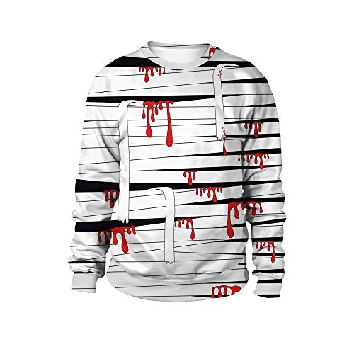 iLOOSKR Womens Long Shirt Scary Halloween Blood Bandage 3D Print Party Top Caps Sweatshirt Black]()