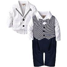 ZOEREA 2pcs Baby Boys Gentlemen Romper + Coat Wedding Suits Tuxedo Baptism