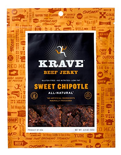KRAVE Beef Jerky, Sweet Chipotle, Gluten Free, 3.25 Ounce (Pack of 4)