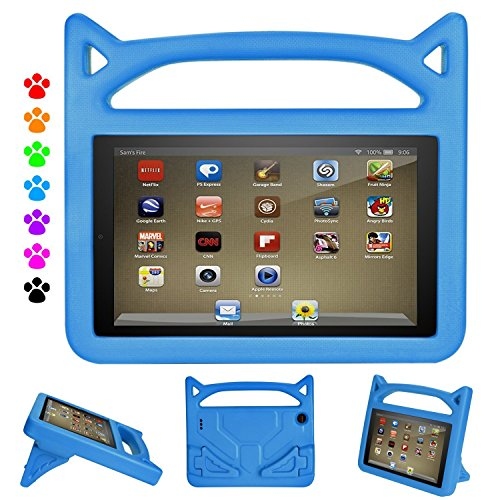 F i r e 7 2017/2015 Kids Case, Roasan Shockproof Protection Stable Stand Super Light Weight Durable Material New F i r e 7 inch Display (7th Gen/5th Gen) (Blue) ()