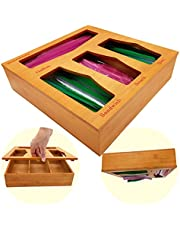 ECOGREDA Bamboo Ziplock Bag Storage Organizer for Kitchen Drawer,Openable Top Lids Food Storage Bag Holders and Dispenser Compatible with Ziploc, Glad, Gallon, Quart, Sandwich & Snack Bags