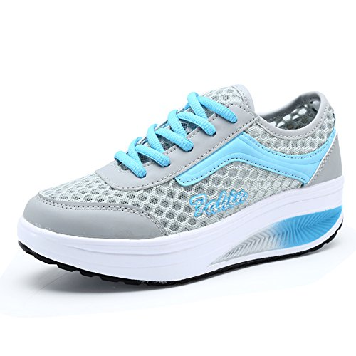 Mljsh Women's Slip-On Platform Shoes Blue Fitness Work Out Sneaker 9 US Women