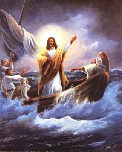 (Jesus Christ Calming The Sea Femrite Religious and Spiritual Art Print Poster (16x20))