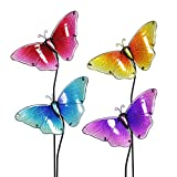 Exhart Butterfly Garden Stakes, Glass, Set of 4, Red Yellow Turquoise Purple, 8.75'' L x 1.25'' W x 26'' H