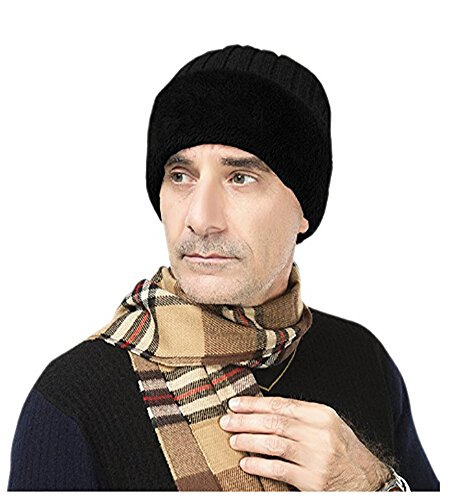 Men's Winter Warm Earmuffs Beanie Hat Cap Baggy Slouchy Roll up Crochet Wool Knit Skull Cap Outdoor Skiing Cycling Thick Fleece Lined Cap Earflap,Christmas Party Hat Costume Gift (Black)