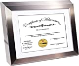 CreativePF [11x14ss-w] Stainless Steel Document Frame Displays 8.5 by 11-inch with Mat or 11 by 14-inch Certificate,