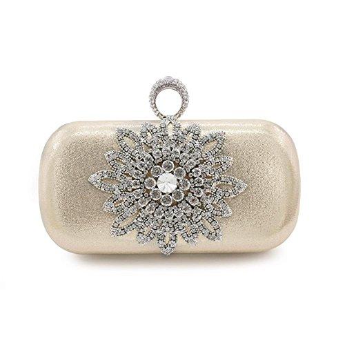 Kingluck Women's Floral Beaded Design Evening Clutch Bags Wedding Purse (light gold) ()